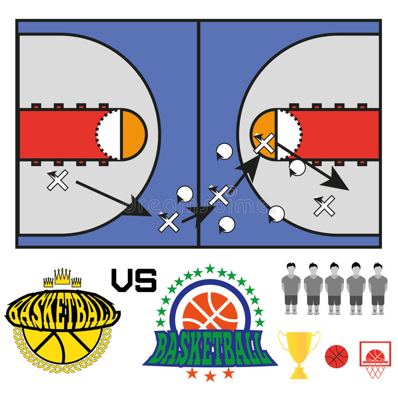 Le match de basket objecte des icônes illustration stock