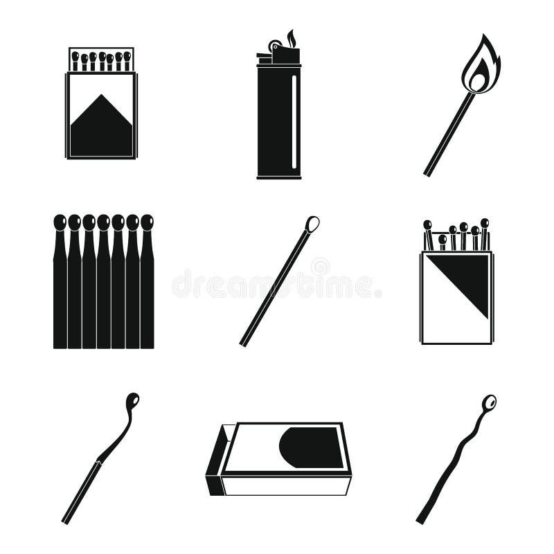 Le match de sécurité mettent à feu des icônes de brûlure réglées, style simple illustration libre de droits