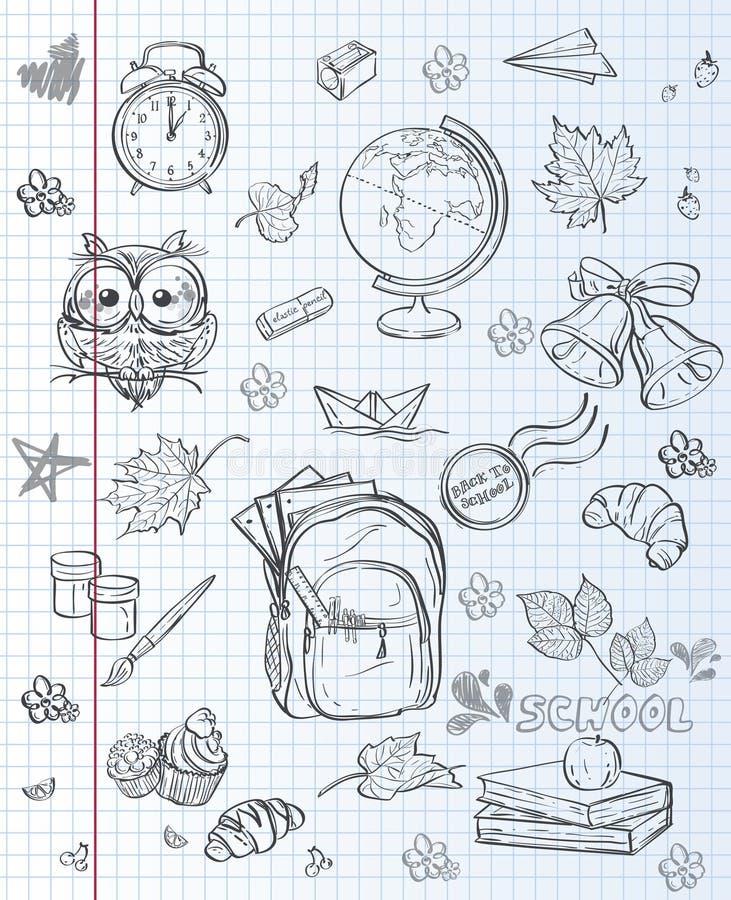 Le materie d'insegnamento backpack, pitture, globo e foglie di autunno Contorno nero illustrazione di stock