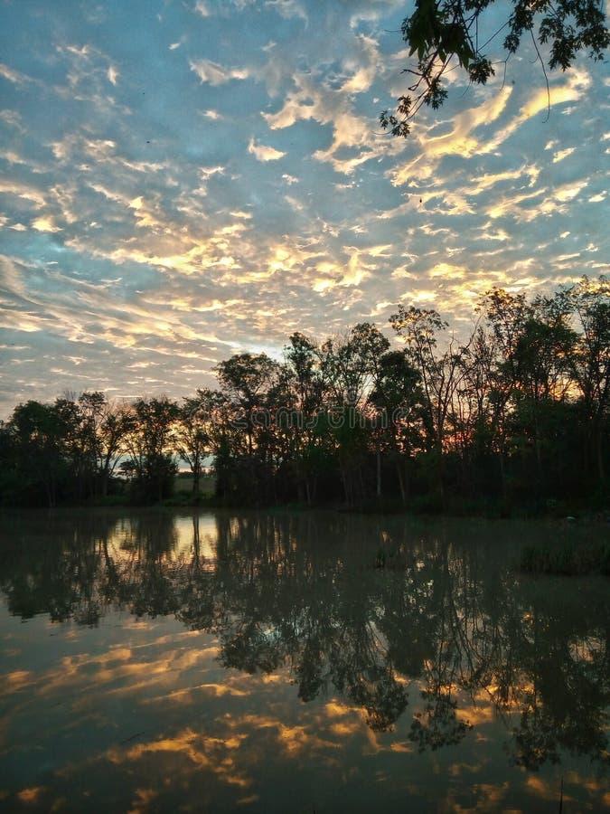 Le matin d'or se reflètent photo libre de droits