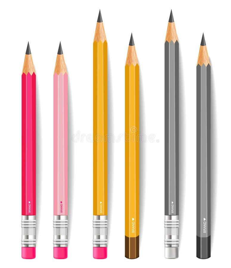 Le matite Vector realistico Scrittura o strumenti di disegno isolati su fondo bianco r illustrazione di stock