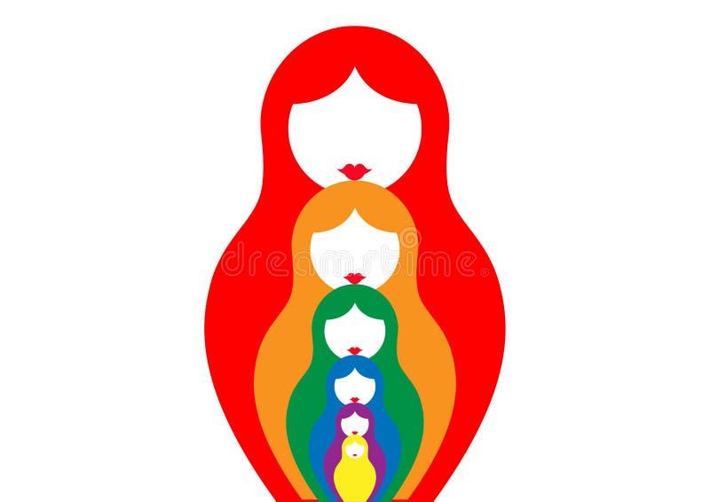 Le matrioshka russe de poupée d'emboîtement, a placé le symbole coloré d'icône de la Russie, illustration libre de droits