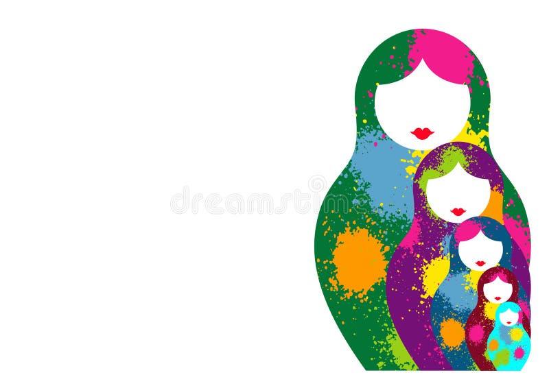 Le matrioshka russe de poupées d'emboîtement, a placé le symbole coloré d'icône de la Russie Style coloré par éclaboussure Vecteu illustration libre de droits