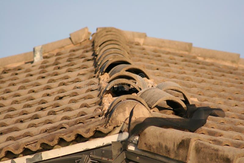 Le mattonelle di tetto sono strappate su dai venti di uragano fotografia stock