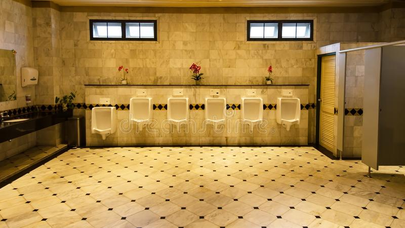 Le mattonelle murano nella toilette dell'uomo immagini stock libere da diritti