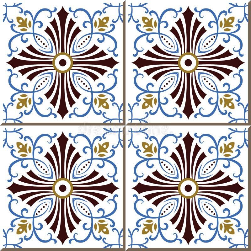 Le mattonelle senza cuciture d'annata della parete della vite a spirale blu allineano, marocchino, portoghese illustrazione di stock