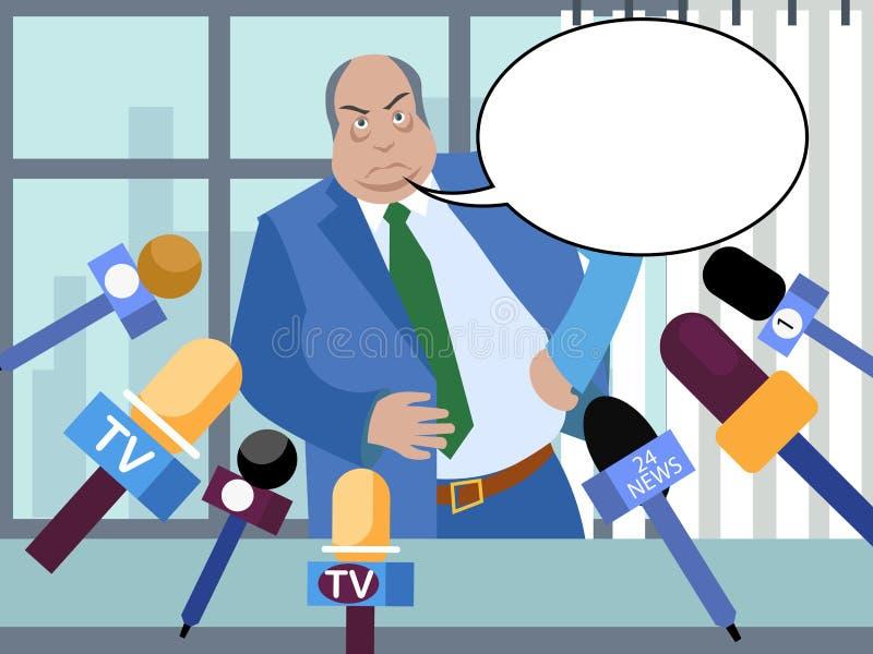 Le mauvais politicien, fonctionnaire corrompu donne des entrevues aux journalistes Dans le style minimaliste Bulle isométrique pl illustration de vecteur