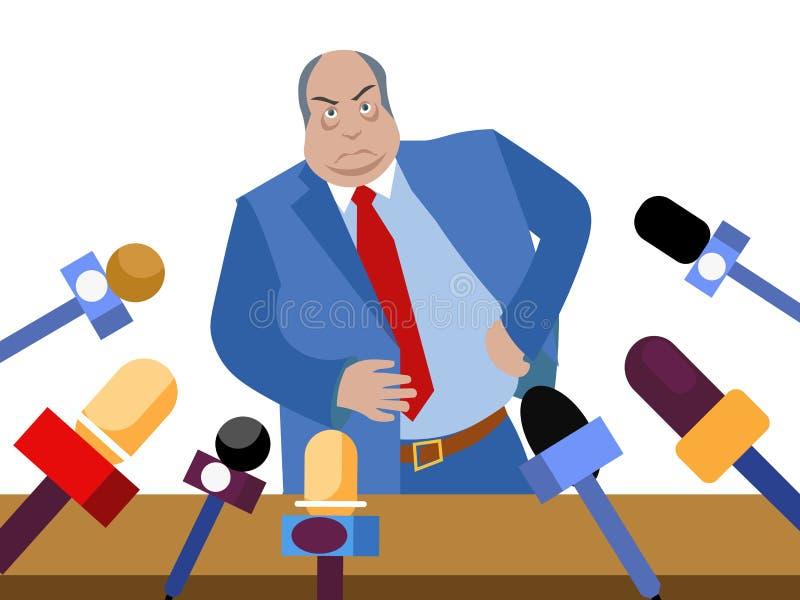 Le mauvais politicien, fonctionnaire corrompu donne des entrevues aux journalistes Dans le style minimaliste Vecteur isométrique  illustration libre de droits
