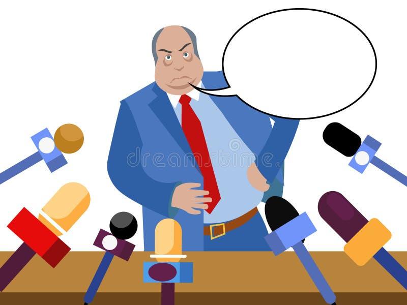 Le mauvais politicien, fonctionnaire corrompu donne des entrevues aux journalistes Dans le style minimaliste Vecteur isom?trique  illustration stock