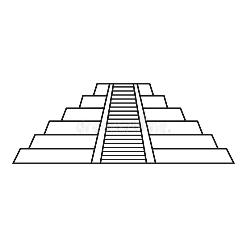Le Maya de Chichen Itza ruine l'icône du Mexique, style d'ensemble illustration stock