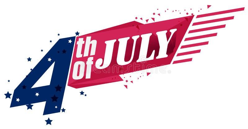 le 4?me juillet Jour de la D?claration d'Ind?pendance heureux LES Etats-Unis Les Etats-Unis d'Am?rique Vacances am?ricaines Quart illustration libre de droits