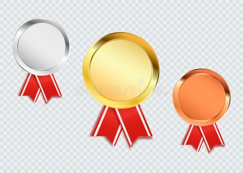 Le medaglie del premio hanno isolato Illustrazione di vettore del trofeo dell'oro, dell'argento e del bronzo illustrazione di stock