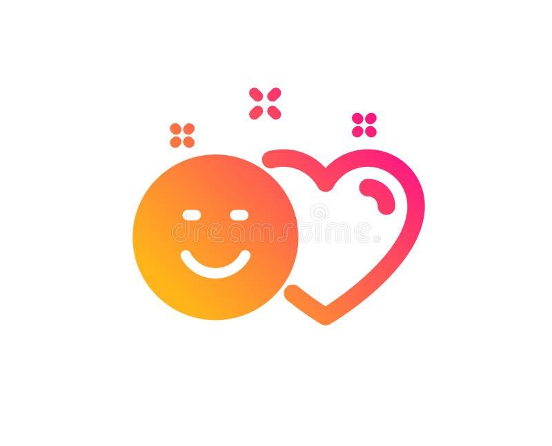 Le media social aime l'icône Coeur, signe de sourire Vecteur illustration stock