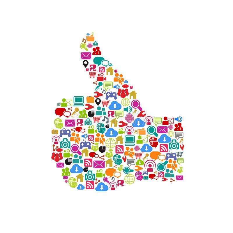 Le media social aime la main illustration de vecteur