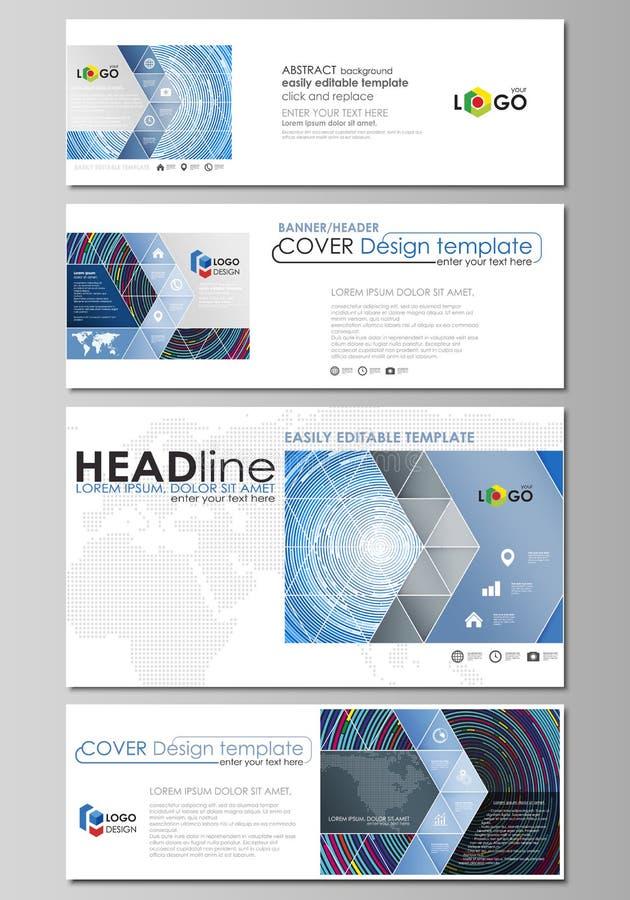 Le media social et les en-têtes d'email ont placé, les bannières modernes Descripteurs d'affaires Calibre abstrait de conception, illustration stock