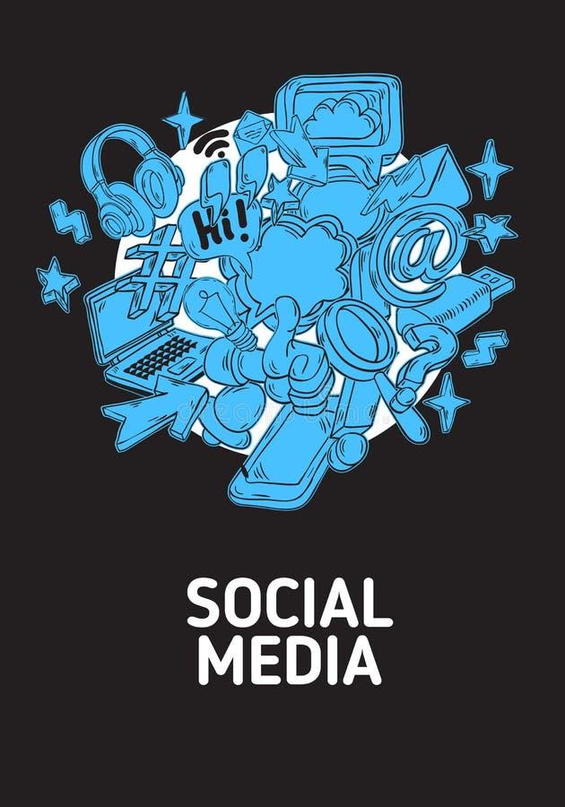 Le media social a isolé la ligne peu précise tirée par la main Art Style Drawings Illustrations Icons de bande dessinée artistiqu illustration libre de droits