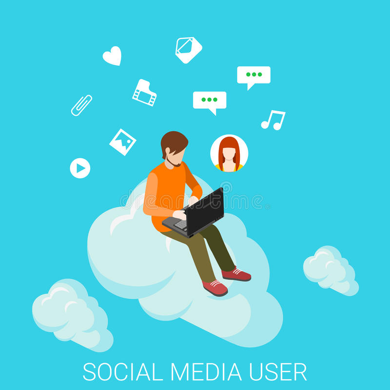 Le media social opacifie l'infographics plat de technologie de vecteur de causerie illustration libre de droits