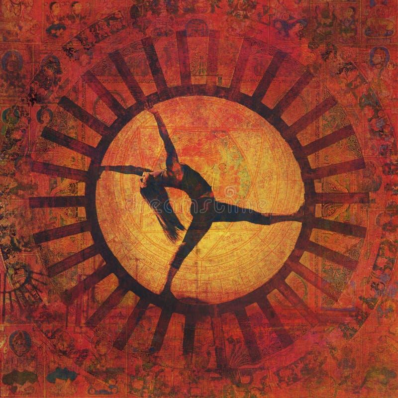 Le meditazioni di yoga espongono al sole la donna di Asana illustrazione vettoriale