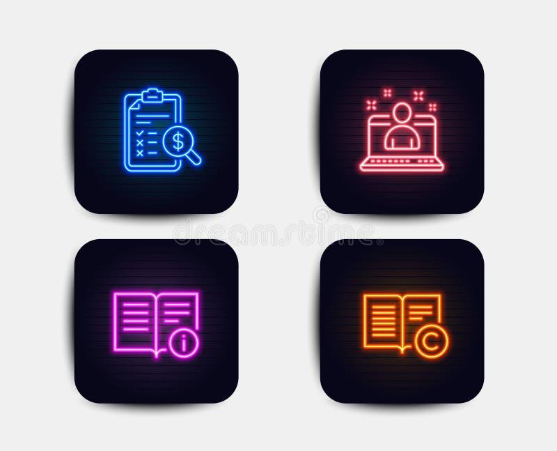 Le meilleur directeur, le rapport de comptabilité et les icônes de l'information technique Signe de copyright Vecteur illustration de vecteur