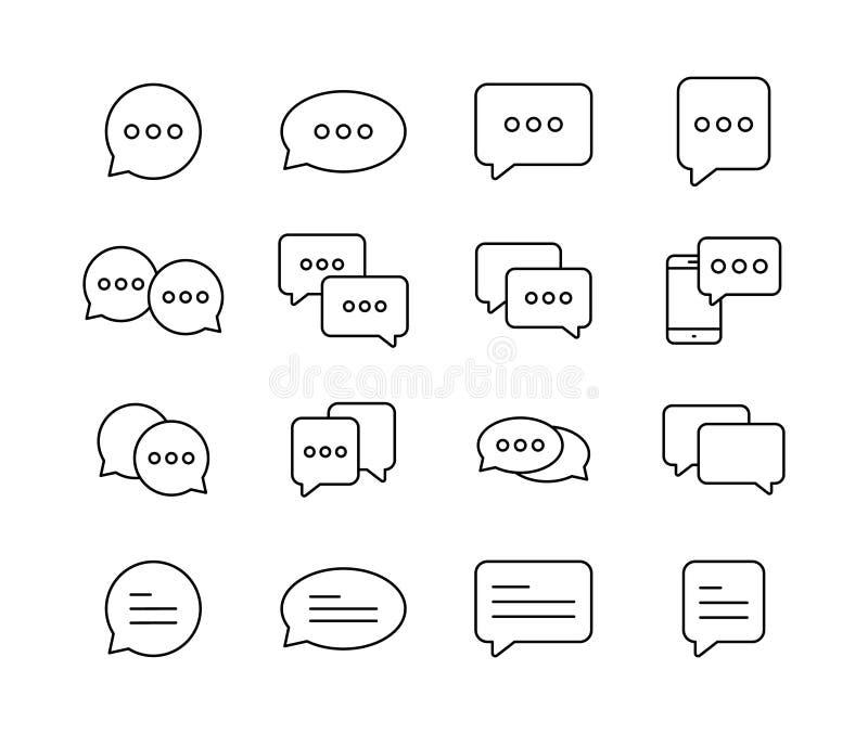 Le meilleur ensemble de bulle de la parole de causerie Le calibre des bulles de message causent des icônes de boîtes Causerie, bu illustration stock