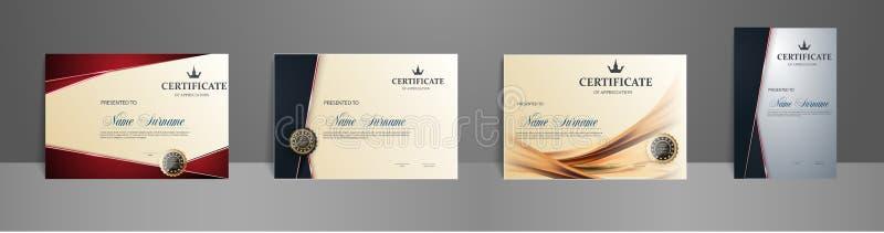 Le meilleur ensemble de diplôme de récompense de certificat illustration libre de droits