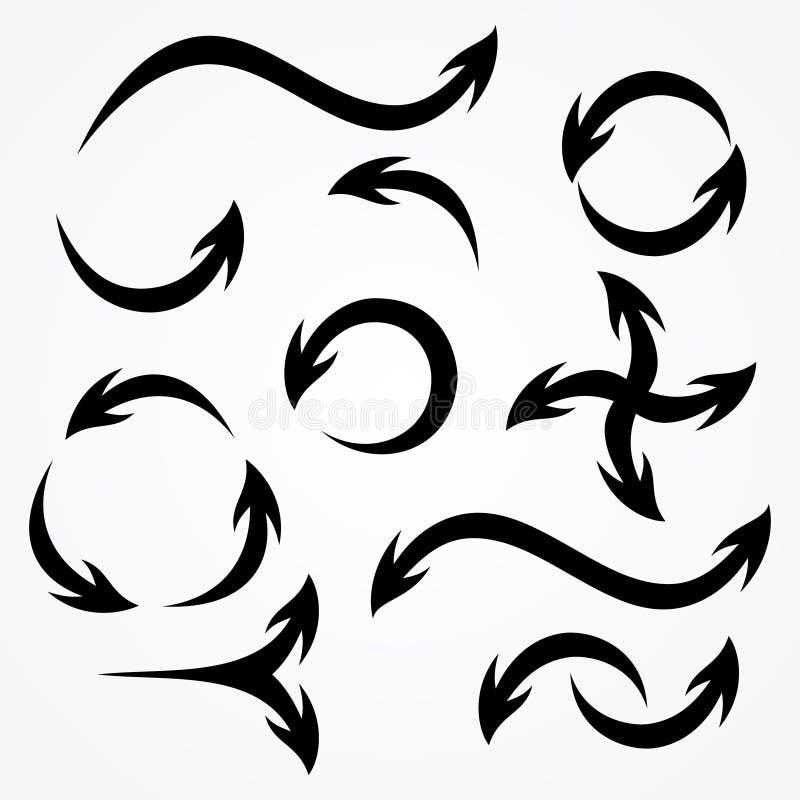 Le meilleur ensemble de flèches tribales de vecteur de silhouette illustration libre de droits