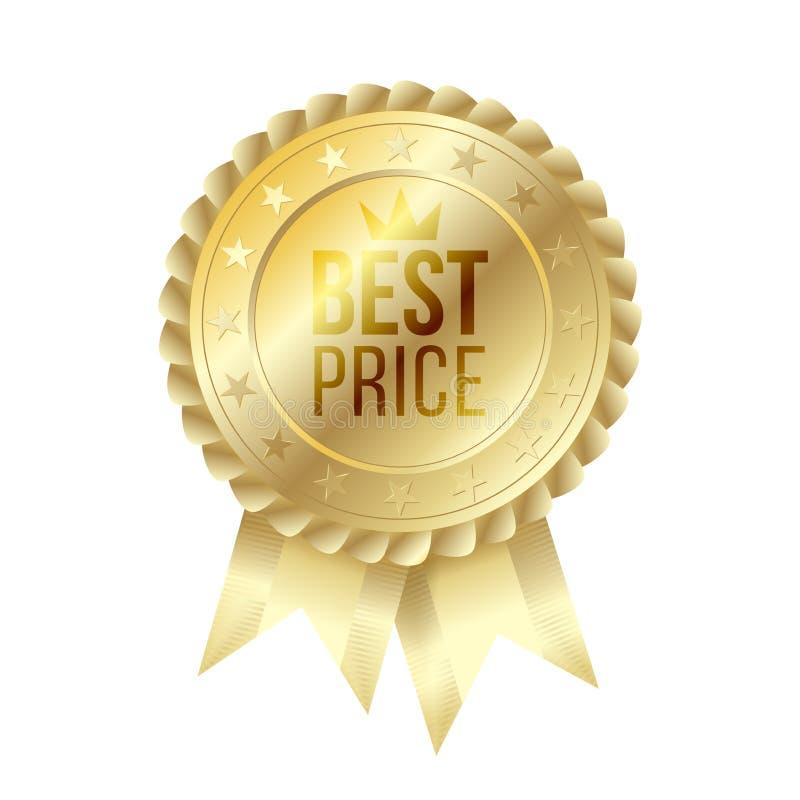 Le meilleur label d'or des prix avec des rubans illustration de vecteur