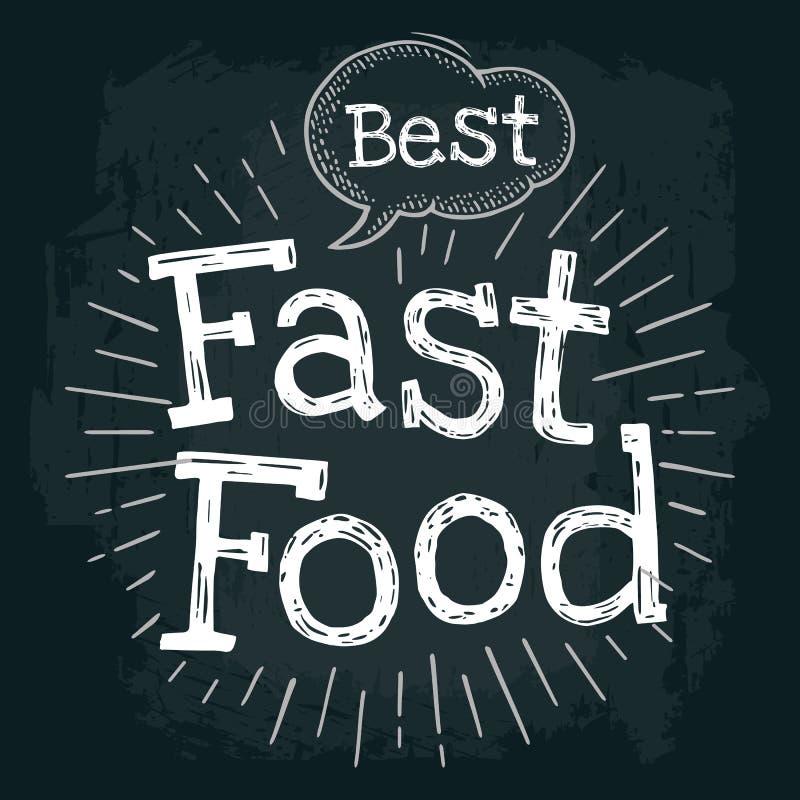Le meilleur lettrage d'aliments de préparation rapide avec la bulle et les rayons Vecteur illustration libre de droits