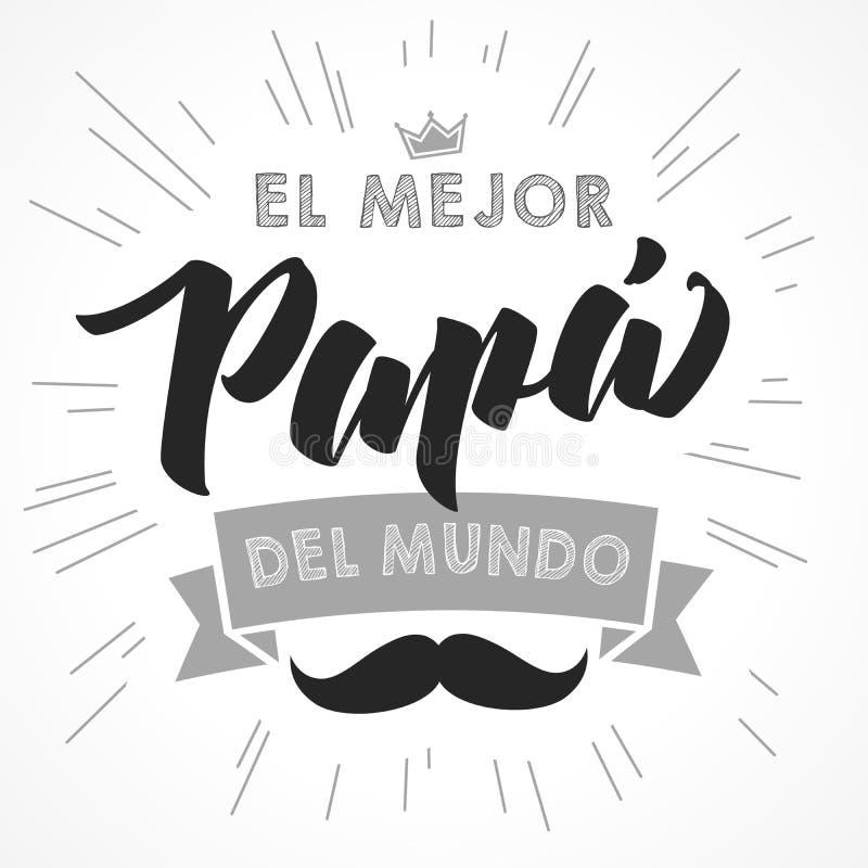 Le meilleur papa au monde - langue espagnole illustration stock