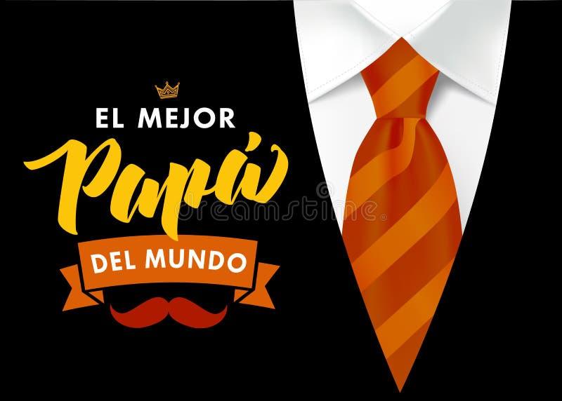 Le meilleur papa au monde - langue espagnole illustration libre de droits