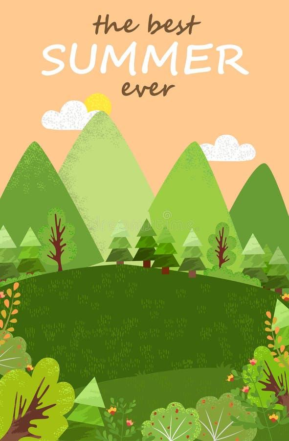 Le meilleur paysage d'été jamais, la forêt verte et le champ illustration libre de droits