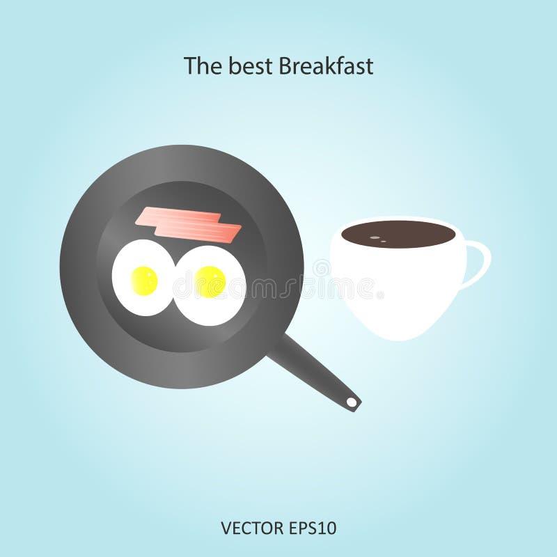 Le meilleur petit déjeuner des oeufs, café de lard illustration de vecteur
