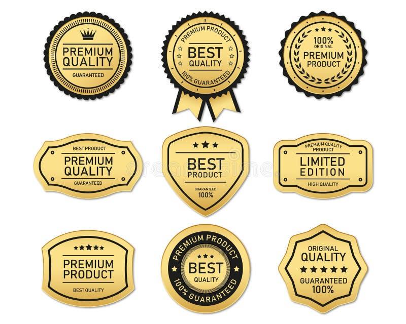 Le meilleurs et de la meilleure qualité or et espace libre de label de qualité image libre de droits
