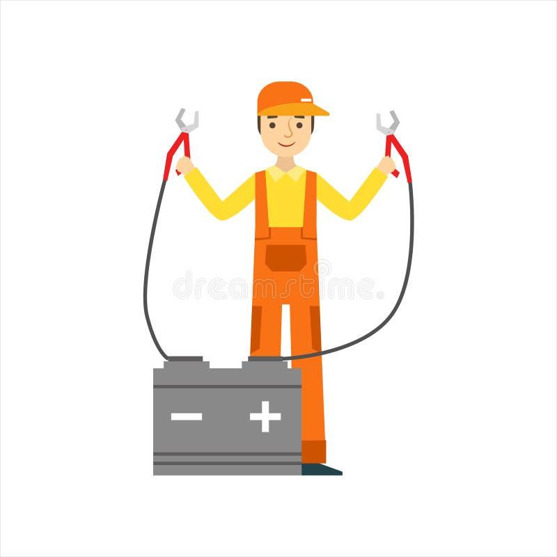Le mekanikern Charging The Battery i garaget, illustration för service för bilreparationsseminarium royaltyfri illustrationer