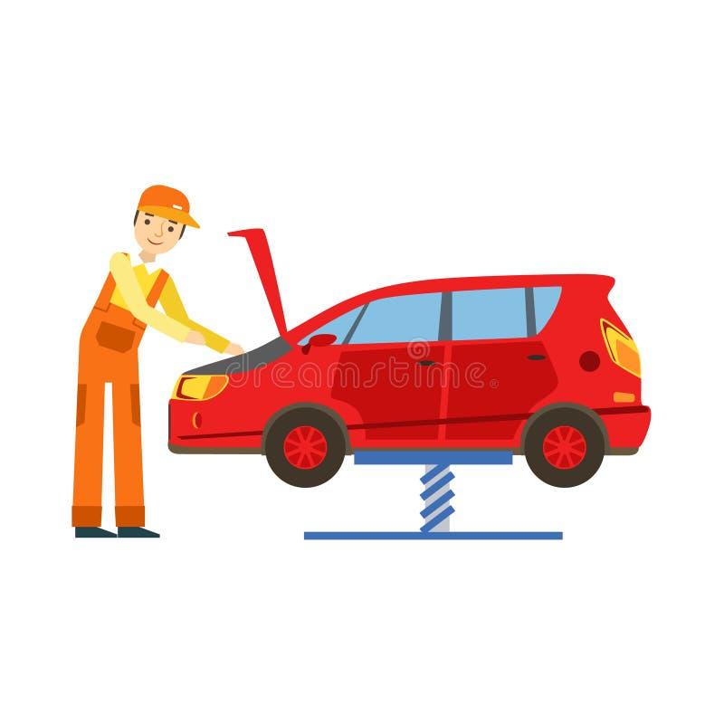 Le mekanikern Looking At Engine i garaget, illustration för service för bilreparationsseminarium royaltyfri illustrationer
