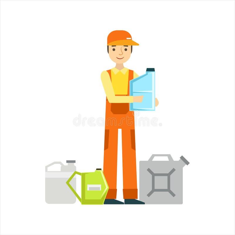 Le mekanikern With Oils Assortment i garaget, illustration för service för bilreparationsseminarium vektor illustrationer