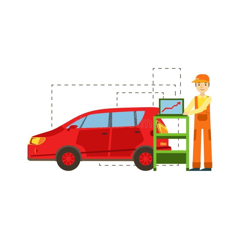 Le mekanikern Running Computer Diagnostics i garaget, illustration för service för bilreparationsseminarium royaltyfri illustrationer