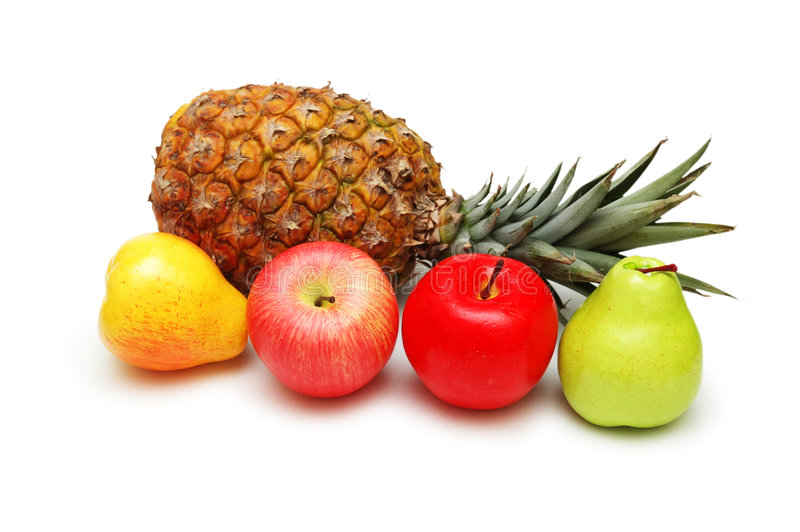 Le mele, le pere e l'ananas è immagine stock