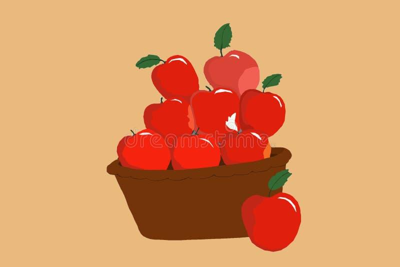 Le mele nel canestro illustrazione di stock