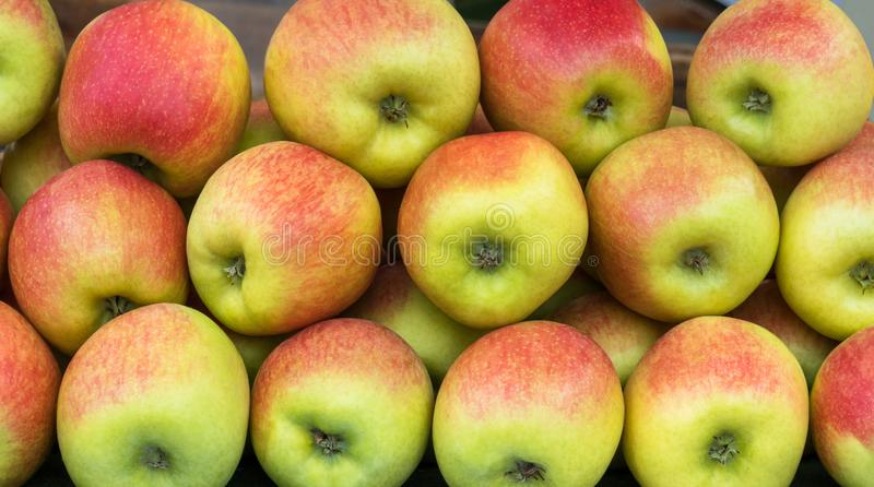 Le mele rosse e verdi impilano in un fondo completo della pagina immagine stock libera da diritti
