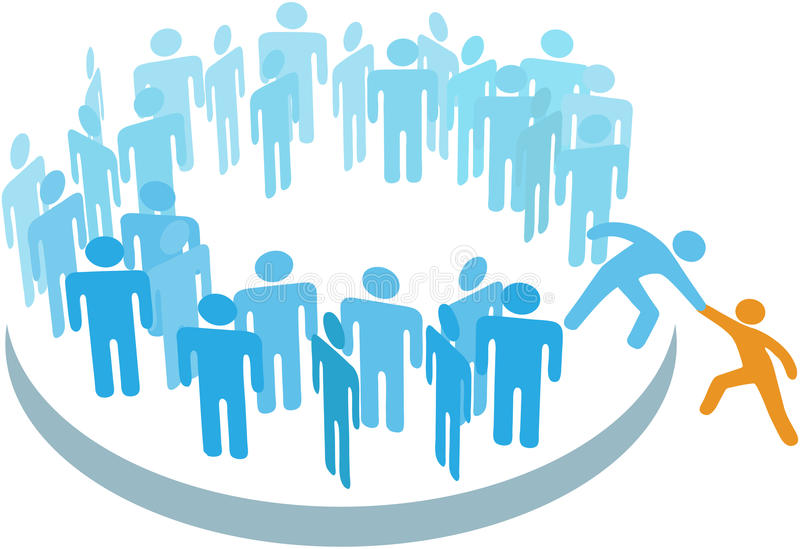Le membre neuf d'aide de gens joignent le grand groupe illustration stock