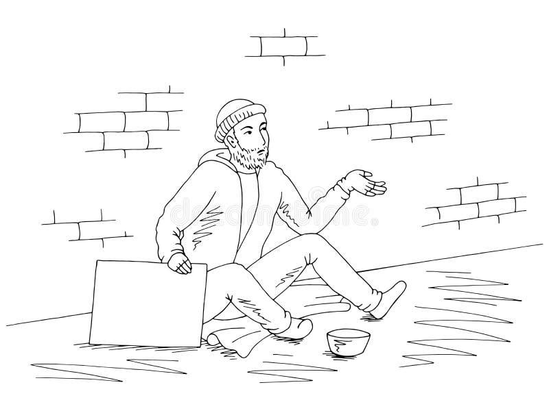 Le mendiant tient une affiche, demande l'argent et s'assied sur le vecteur blanc noir graphique d'illustration de croquis de rue illustration stock