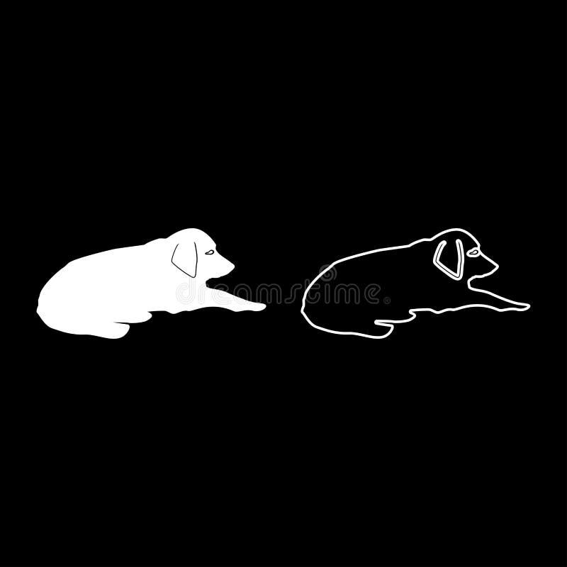 Le mensonge de chien sur l'animal familier de rue se trouvant sur l'icône décontractée au sol de chienchien a placé l'image simpl illustration stock