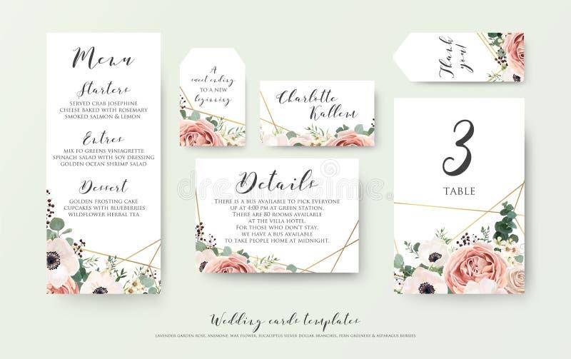 Le menu de mariage, l'information, le label, le nombre de table et l'endroit cardent le De illustration stock