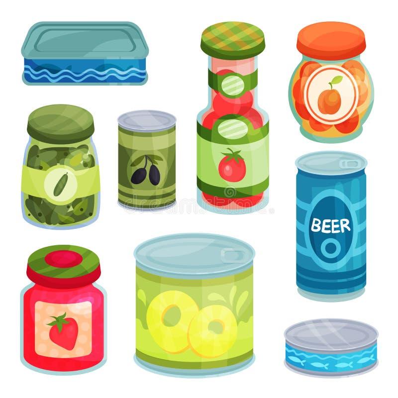 Le merci inscatolate, l'alimento in scatola in latte, i barattoli di vetro ed il fumetto del contenitore del metallo vector le il illustrazione di stock