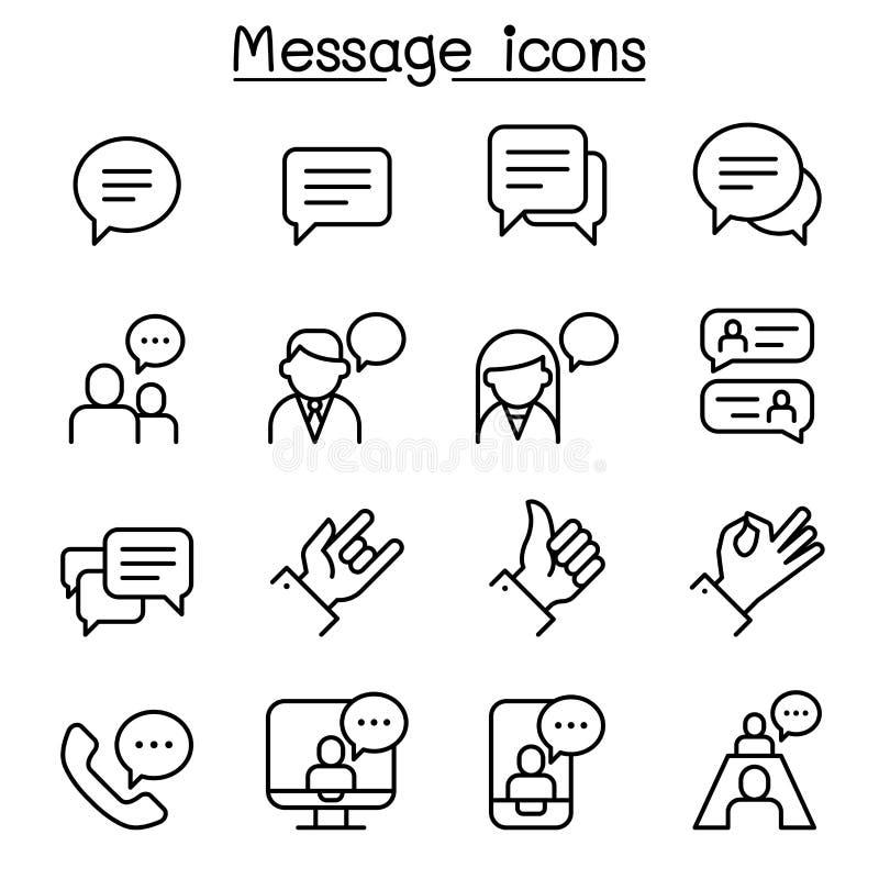 Le message, causerie, icône de discussion a placé dans la ligne style mince illustration stock