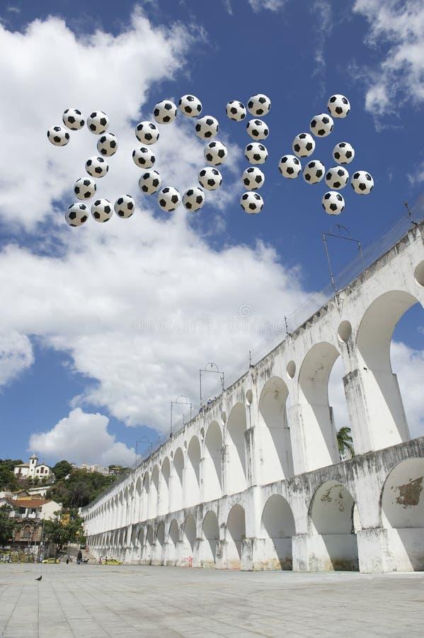 Le message 2014 du football du Brésil Arcos DA Lapa arque Rio de Janeiro image libre de droits