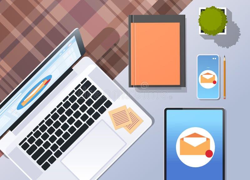 Le message numérique de boîte de réception d'email de vente d'enveloppe envoient à concept de courrier d'affaires la vue d'angle  illustration libre de droits