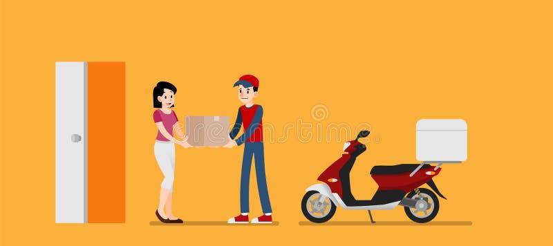 Le messager de sourire équipent donner une boîte en carton au client La femme heureuse reçoivent un produit de l'expéditeur Servi illustration de vecteur