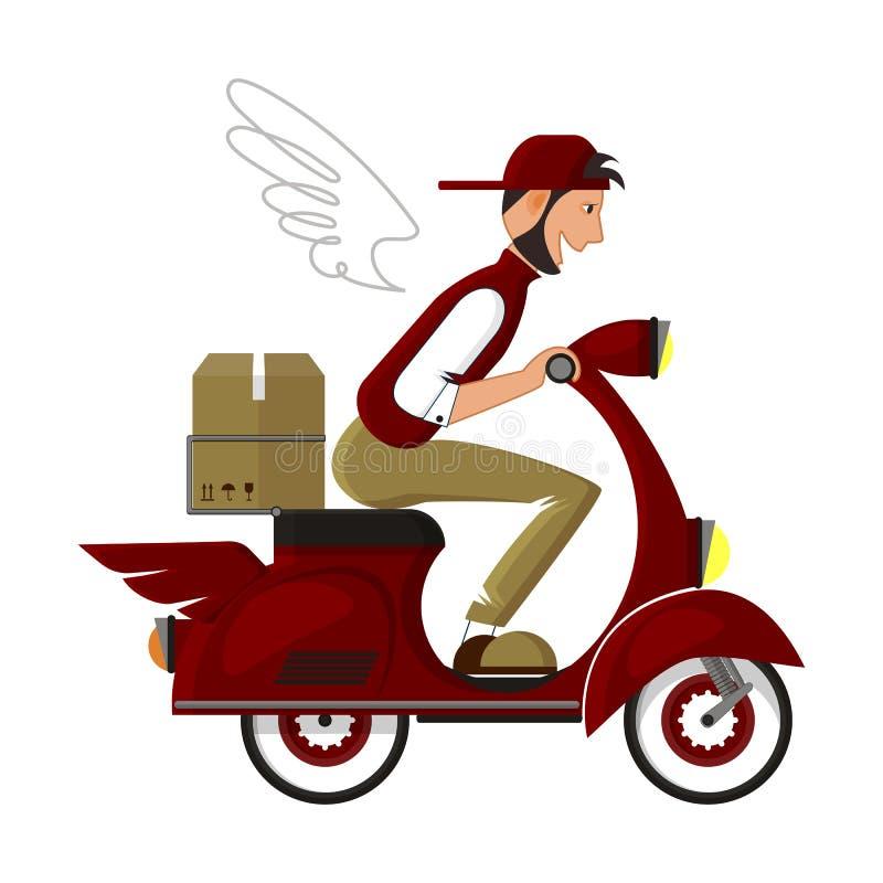 Le messager heureux sur un scooter rouge fournit le paquet à l'adresse illustration de vecteur